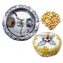 Silver Thali And Half Kg Eggless Butterscotch Cake And 250 gms Pista Dryfruits