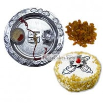 Silver Thali And Half Kg Eggless Butterscotch Cake And 250 gms Raisins Dryfruits