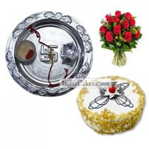 Silver Thali And Half Kg Eggless Butterscotch Cake And 10 Red Roses Bunch