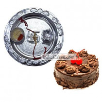 Silver Thali And Half Kg Eggless Chocolate Truffle Cake