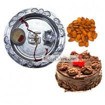 Silver Thali And Half Kg Eggless Chocolate Truffle Cake And 250 gms Almond Dryfruits