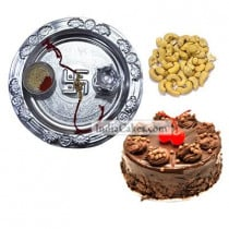 Silver Thali And Half Kg Eggless Chocolate Truffle Cake And 250 gms Cashew Dryfruits