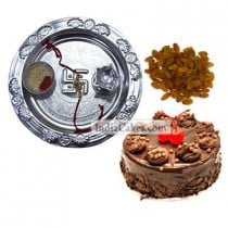 Silver Thali And Half Kg Eggless Chocolate Truffle Cake And 250 gms Raisins Dryfruits