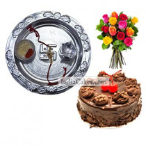 Silver Thali And Half Kg Eggless Chocolate Truffle Cake And 10 Mix Roses Bunch