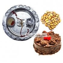 Silver Thali And Half Kg Eggless Chocolate Truffle Cake And 250 gms Pista Dryfruits