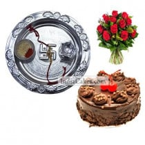 Silver Thali And Half Kg Eggless Chocolate Truffle Cake And 10 Red Roses Bunch