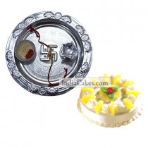 Silver Thali And Half Kg Eggless Pineapple Cake