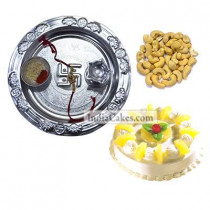 Silver Thali And Half Kg Eggless Pineapple Cake And 250 gms Cashew Dryfruits