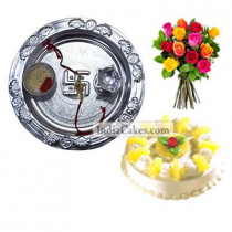 Silver Thali And Half Kg Eggless Pineapple Cake And 10 Mix Roses Bunch