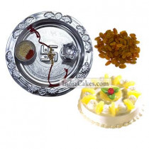 Silver Thali And Half Kg Eggless Pineapple Cake And 250 gms Raisins Dryfruits