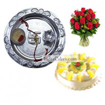 Silver Thali And Half Kg Eggless Pineapple Cake And 10 Red Roses Bunch