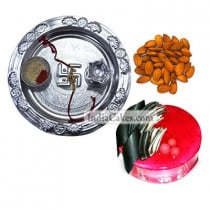 Silver Thali And Half Kg Eggless Strawberry Cake And 250 gms Almond Dryfruits