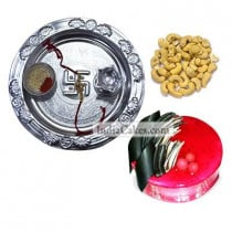 Silver Thali And Half Kg Eggless Strawberry Cake And 250 gms Cashew Dryfruits