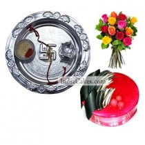 Silver Thali And Half Kg Eggless Strawberry Cake And 10 Mix Roses Bunch