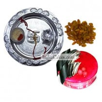 Silver Thali And Half Kg Eggless Strawberry Cake And 250 gms Raisins Dryfruits