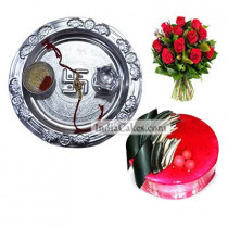 Silver Thali And Half Kg Eggless Strawberry Cake And 10 Red Roses Bunch