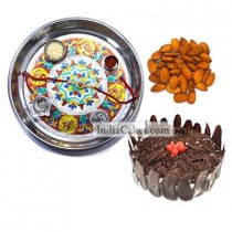 Silver Thali With Design And Half Kg Eggless Black Forest Cake And 250 gms Almond Dryfruits