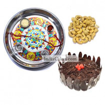 Silver Thali With Design And Half Kg Eggless Black Forest Cake And 250 gms Cashew Dryfruits