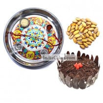 Silver Thali With Design And Half Kg Eggless Black Forest Cake And 250 gms Pista Dryfruits
