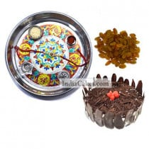 Silver Thali With Design And Half Kg Eggless Black Forest Cake And 250 gms Raisins Dryfruits