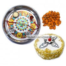 Silver Thali With Design And Half Kg Eggless Butterscotch Cake And 250 gms Almond Dryfruits