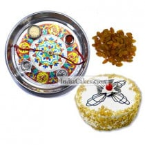 Silver Thali With Design And Half Kg Eggless Butterscotch Cake And 250 gms Raisins Dryfruits