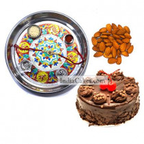 Silver Thali With Design And Half Kg Eggless Chocolate Truffle Cake And 250 gms Almond Dryfruits