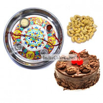 Silver Thali With Design And Half Kg Eggless Chocolate Truffle Cake And 250 gms Cashew Dryfruits