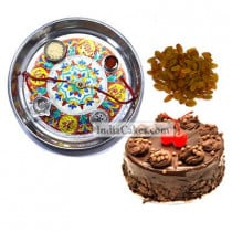 Silver Thali With Design And Half Kg Eggless Chocolate Truffle Cake And 250 gms Raisins Dryfruits
