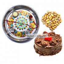 Silver Thali With Design And Half Kg Eggless Chocolate Truffle Cake And 250 gms Pista Dryfruits