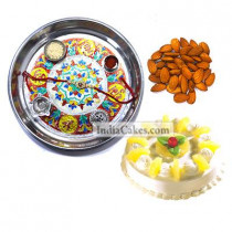 Silver Thali With Design And Half Kg Eggless Pineapple Cake And 250 gms Almond Dryfruits