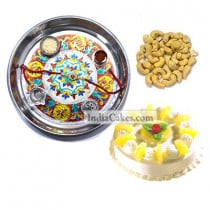 Silver Thali With Design And Half Kg Eggless Pineapple Cake And 250 gms Cashew Dryfruits