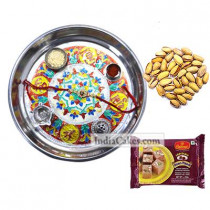 Silver Thali With Design And 250 gms Soanpapdi And 250 gms Pista Dryfruits - Courieredp
