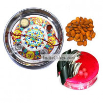 Silver Thali With Design And Half Kg Eggless Strawberry Cake And 250 gms Almond Dryfruits