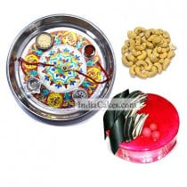 Silver Thali With Design And Half Kg Eggless Strawberry Cake And 250 gms Cashew Dryfruits