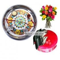 Silver Thali With Design And Half Kg Eggless Strawberry Cake And 10 Mix Roses Bunch - Courieredp