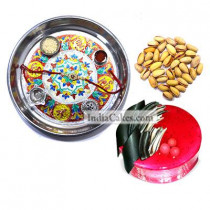 Silver Thali With Design And Half Kg Eggless Strawberry Cake And 250 gms Pista Dryfruits