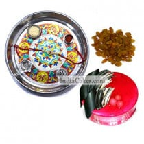 Silver Thali With Design And Half Kg Eggless Strawberry Cake And 250 gms Raisins Dryfruits