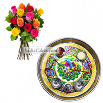 Golden Thali With Green Design and Mix Roses