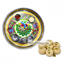 Golden Thali With Green Design And Pedha