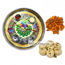 Golden Thali With Green Design And Pedha With Almond Dryfruits