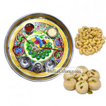 Golden Thali With Green Design And Pedha With Cashew Dryfruits