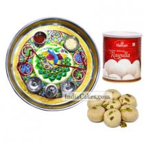 Golden Thali With Green Design And Pedha With Rasgulla
