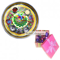 Golden Thali With Green Design And Pink Chocolate Box