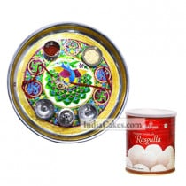 Golden Thali With Green Design And Rasgulla