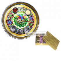 Golden Thali With Green Design And Golden Finish Design Chocolate Or Sweet Box