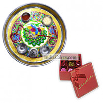 Golden Thali With Green Design And 20 Pcs Red Color Chocolate Box With Ribbon