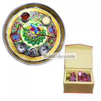 Golden Thali With Green Design And 20 Pcs Red Color Velvet Finish Chocolate Box