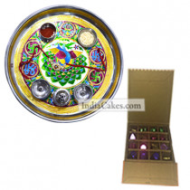 Golden Thali With Green Design And 16 Pcs Golden And Orange Stips Chocolate Box