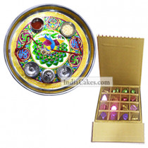 Golden Thali With Green Design And 16 Pcs Golden And Brown Stips Chocolate Box